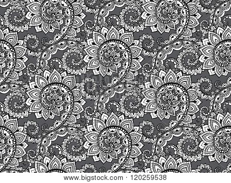 Beautiful Seamless Pattern With Hand Drawn Abstract Scroll Flowers