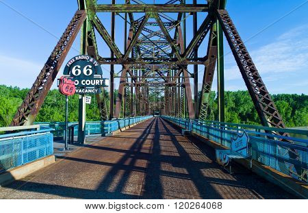 St Louis, U.S.A. - May 18 2011: Missouri, Route 66, the old Chain of Roks bridge on the Mississippi river.