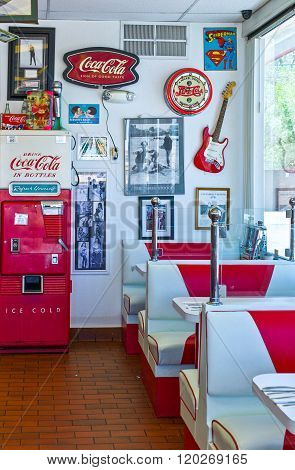 Gallup, U.S.A. - May 23, 2011: New Mexico, signs and decorations in a vintage style restaurant on the Route 66.