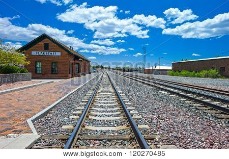 Flagstaff, U.S.A. - May 24, 2011: Arizona, perspective view of the railway station near the Route 66: