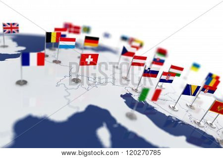 Europe Map With Countries Flags