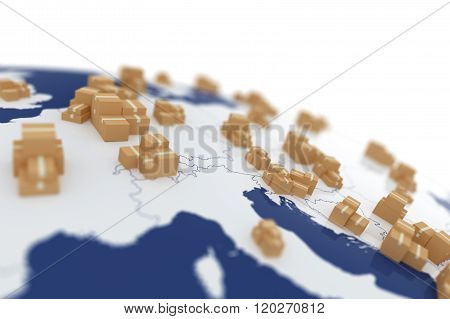 Cardboard Boxes On The Europe Map
