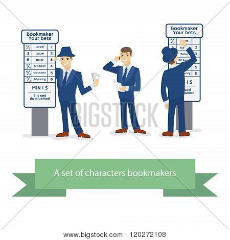 Bookie character, cartoon comic man. Vector illustration.