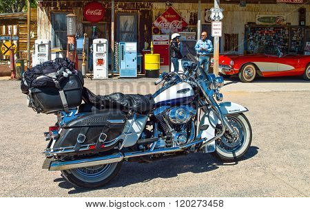 Hackberry, U.S.A. May 25, 2011: Arizona, a motorcycle in front of the General Store on the Route 66.