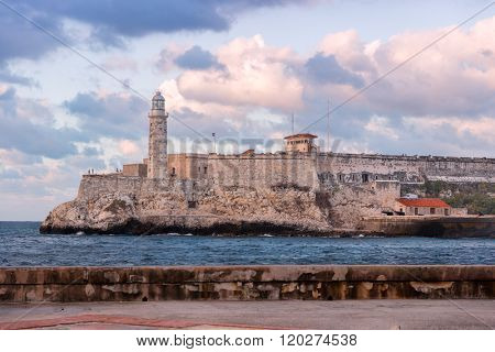 The old fortress of El Morro in Havana at sunset