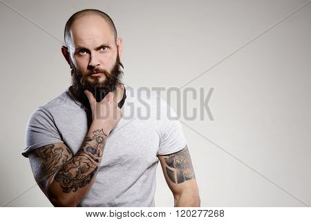 Bearded Tattooed Man Wearing White Blank T-shirt