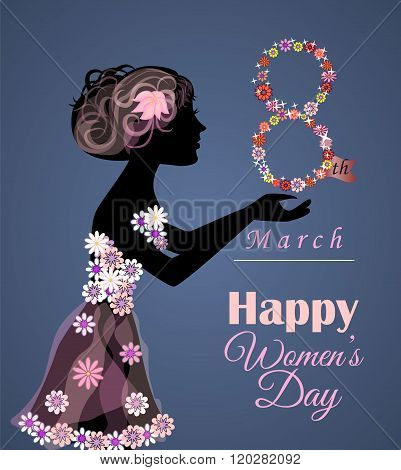 Vector Greeting Card Or Banner For 8 March. Happy Women's Day