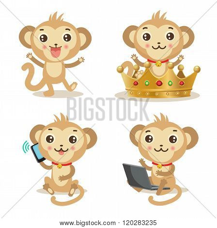 Funky Monkey. Vector Animal Illustration. Cute Monkey Pictures: Gold Crown, Cellphone, Laptop, Dancing. Humor And Friendship Birthday Image. Funky Monkey Baby. Funky Monkey Babies. Funky Monkey Toys.