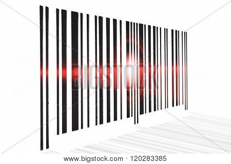 Barcode Scanning Red Beam On White Background.