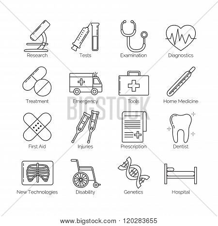 A set of thin black line icons on white background for medical tools, actions and categories, includ