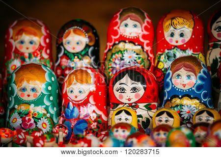 Colorful Russian Nesting Dolls Matreshka At Market.