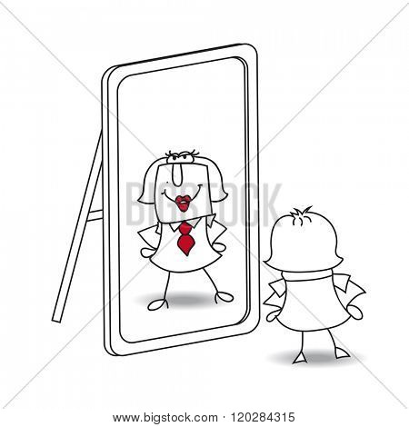 Be yourself. Woman looks in the mirror. It is a metaphor of  keeping yourself in the life