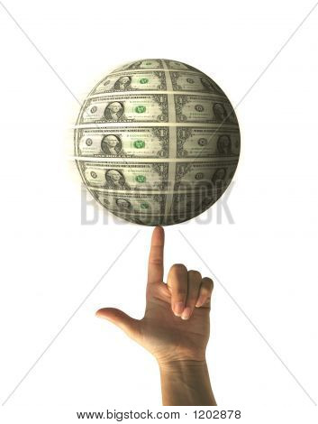 hand with index finger holding money sphere spinning on white background - financial concept poster