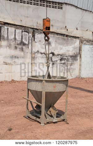 Crane Lifting Concrete Mixer Container