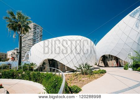 Modern buildings is Monte-Carlo Pavillions. Black and white colo