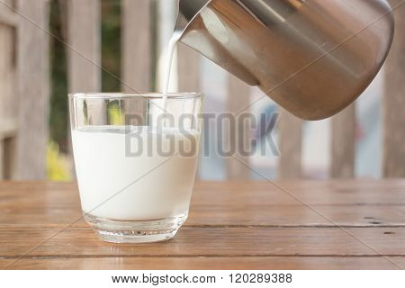 Pour Milk From A Pitcher Into A Glass