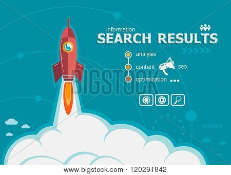 Search Results And Concept Background With Rocket