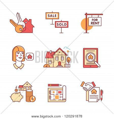 Real estate buying, selling and renting signs set