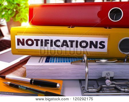 Yellow Office Folder with Inscription Notifications.