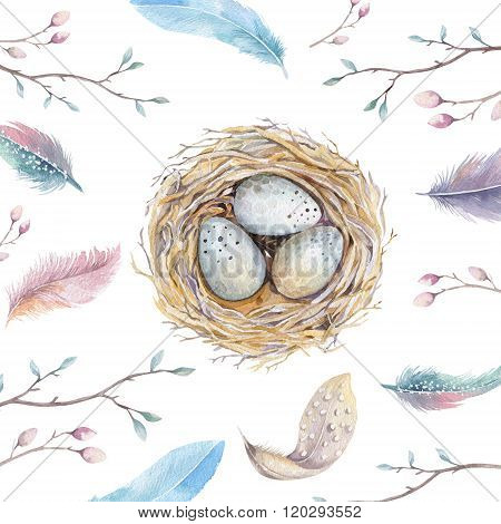 Hand drawn watercolor art bird nest with eggs ,easter design.