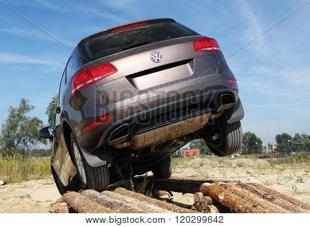KIEV, UKRAINE - SEPTEMBER 11: An unidentified competitor participates in Volkswagen test drive on September 11, 2010 in Kiev, Ukraine.