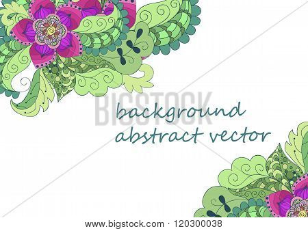 Abstract Vector Background, Color Flowers, Doodles, Wedding Invitations. Template Flower Design For