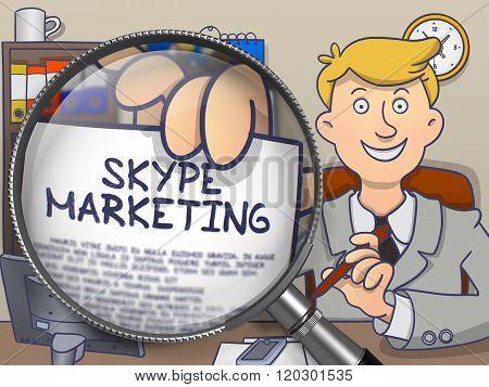 Skype Marketing through Magnifier. Doodle Design.