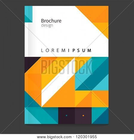 Brochure, report, leaflet, flyer cover template. stock-vector abstract background. Yellow and blue diagonal lines. Abstract geometric background. EPS 10