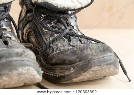 Dirty Shoes After Hiking On Rough Terrain.