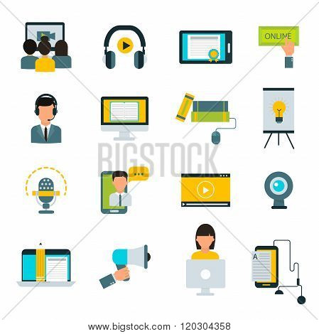 Webinar online education flat icons vector set.