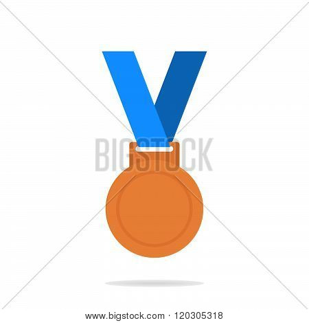 Bronze medal. Bronze medal icon. Bronze medal on the white background. Isolated bronze medal