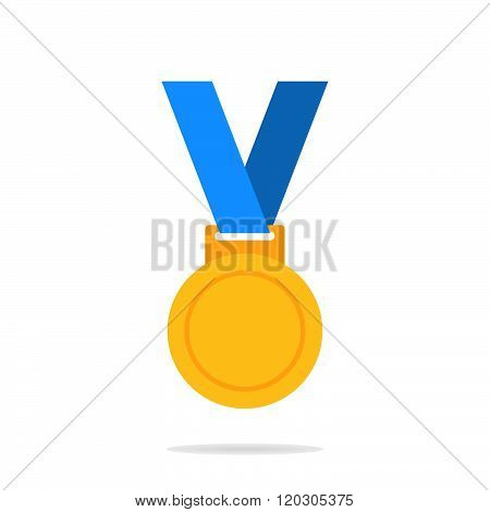 Gold medal. Gold medal icon. Gold medal on the white background. Isolated gold medal