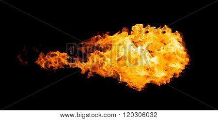 Fireball isolated on black