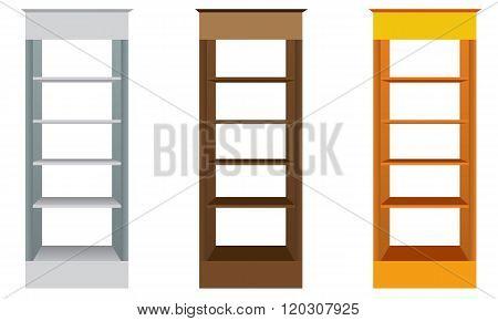 White Blank Empty Showcase Displays With Retail Shelves.