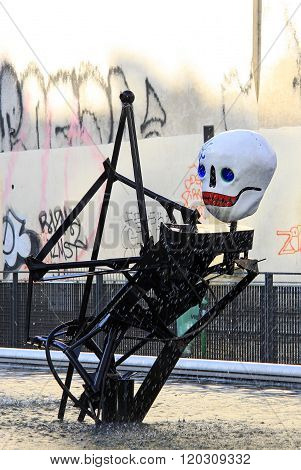 Paris, France -17 December 2011: The Stravinsky Fountain Near The Centre Georges Pompidou By Sculpto