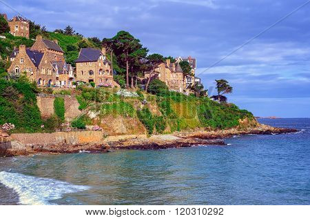 Traditional Breton Stone Houses, Brittany, France