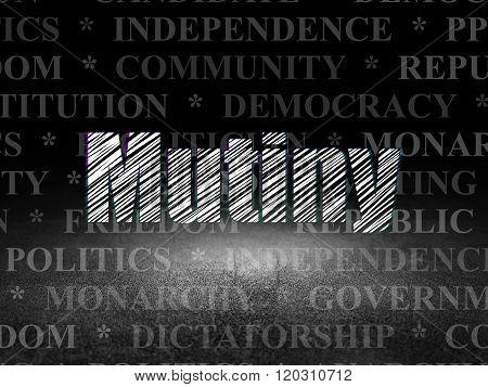 Politics concept: Mutiny in grunge dark room