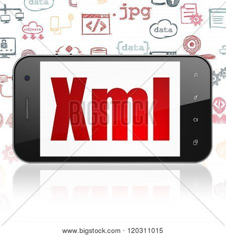Software concept: Smartphone with Xml on display