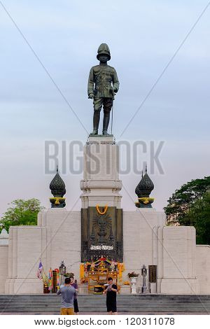 Bangkok - February 11 2016: King rama VI monument located at the front of Lumpini park bangkok Thailand