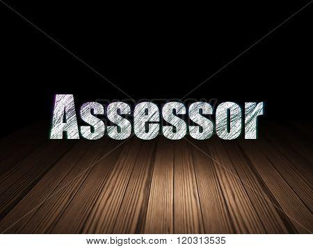 Insurance concept: Assessor in grunge dark room