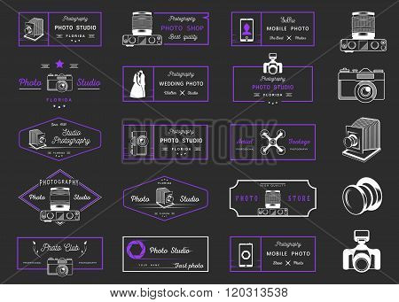 Big set of sign logos and badges photo studios photo clubs air shooting photo shops and wedding photo. Collection of symbols and emblems for your design - Stock Vector