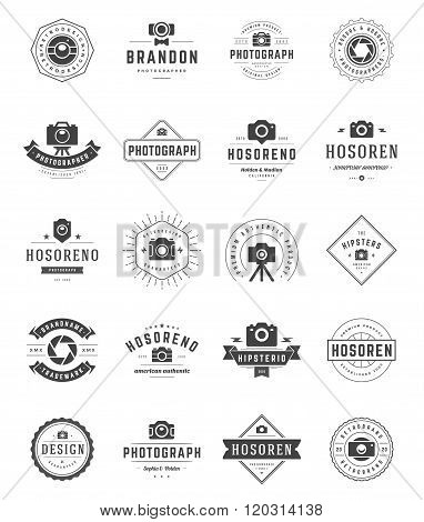 Photographer Logo Templates Set. Vector Design Element Vintage Style for Logotype