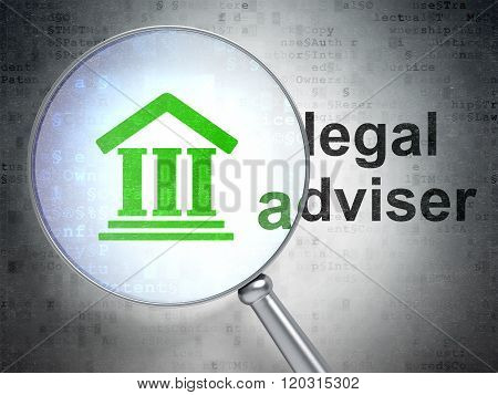 Law concept: Courthouse and Legal Adviser with optical glass