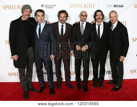 NEW YORK-OCT 27: (L-R) Liev Schreiber, Brian d'Arcy James, Mark Ruffalo, Stanley Tucci, Billy Crudup & Michael Keaton at 'Spotlight' premiere at Ziegfeld Theatre on October 27, 2015 in New York City.