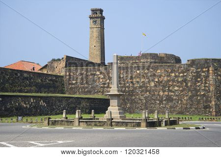 The walls of the fortress of Galle, a sunny day. Sri Lanka