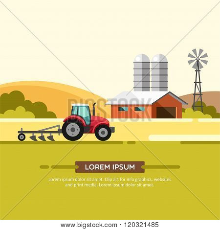 Farming and Agriculture Background with Windmill Tractor and Barn Agribusiness