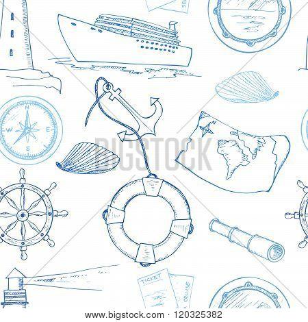 Hand Drawn Cruise Seamless Pattern.