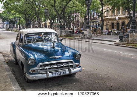 Blue and white car in Havana