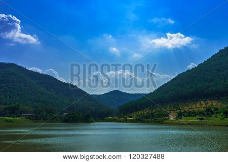 Tranquil Lake With Blue Sky In Kaeng Krachan