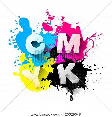 Cmyk Print Concept With 3D Letters And Splashes